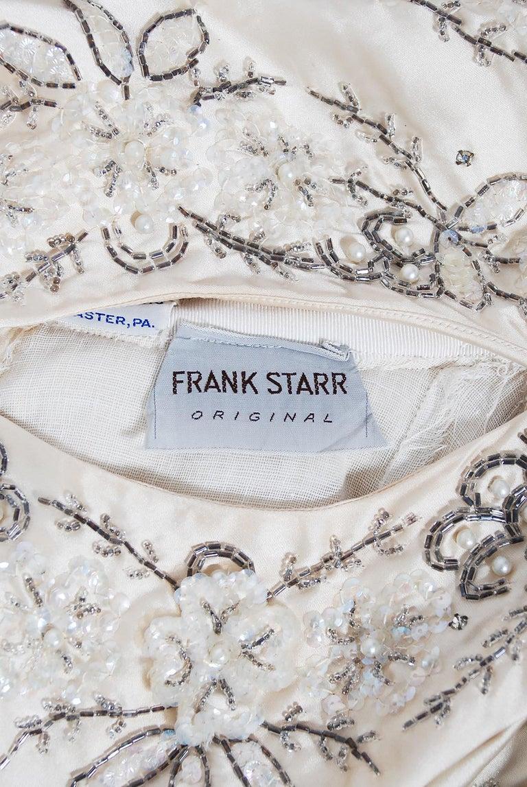Vintage 1950's Frank Starr Beaded Sequin Ivory Satin Tulle-Skirted Bridal Dress For Sale 6