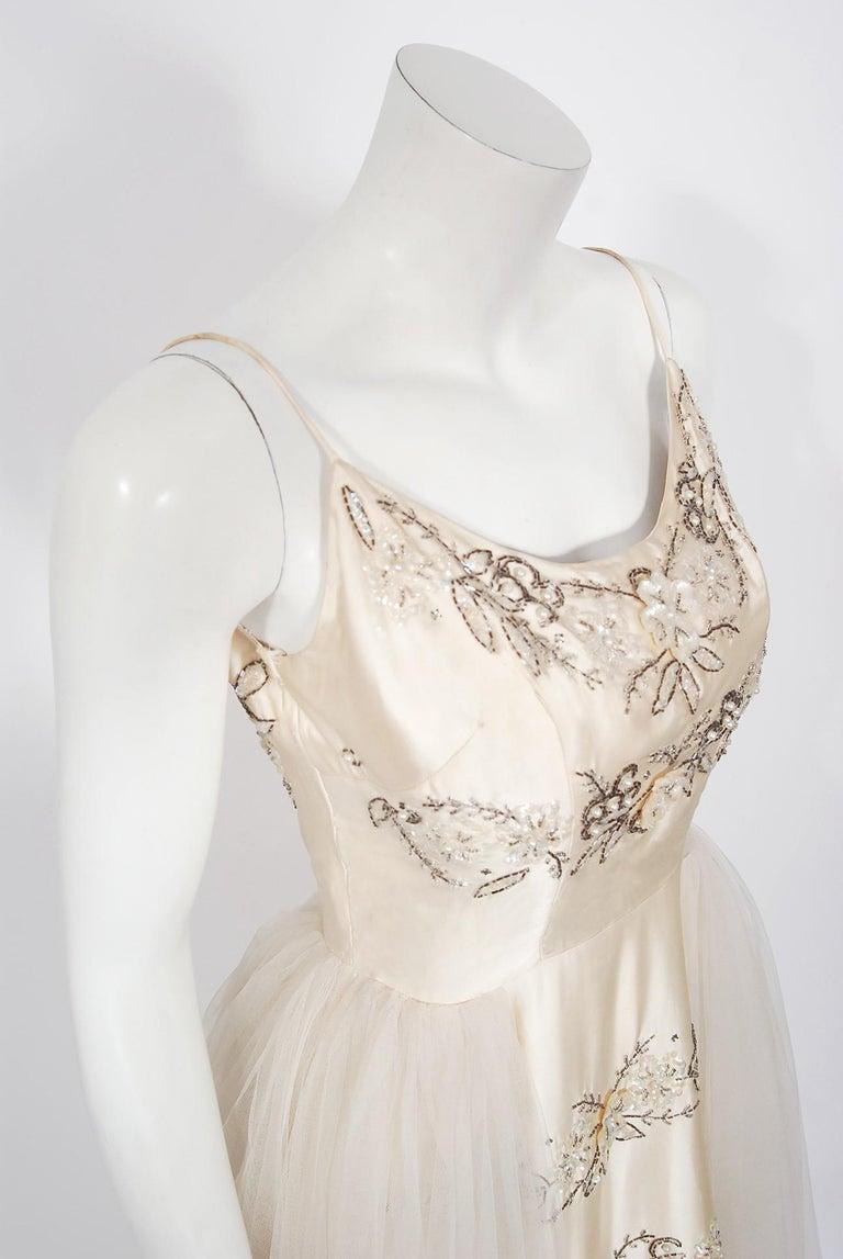Gray Vintage 1950's Frank Starr Beaded Sequin Ivory Satin Tulle-Skirted Bridal Dress For Sale