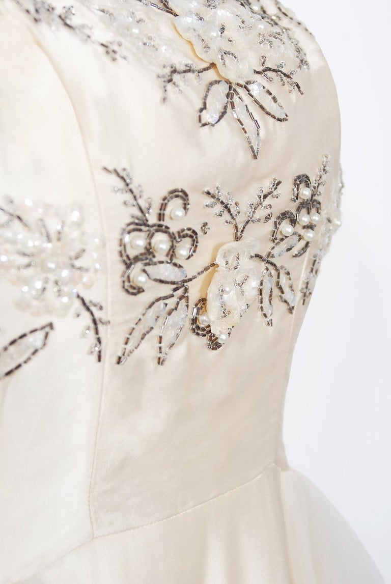 Vintage 1950's Frank Starr Beaded Sequin Ivory Satin Tulle-Skirted Bridal Dress In Good Condition For Sale In Beverly Hills, CA