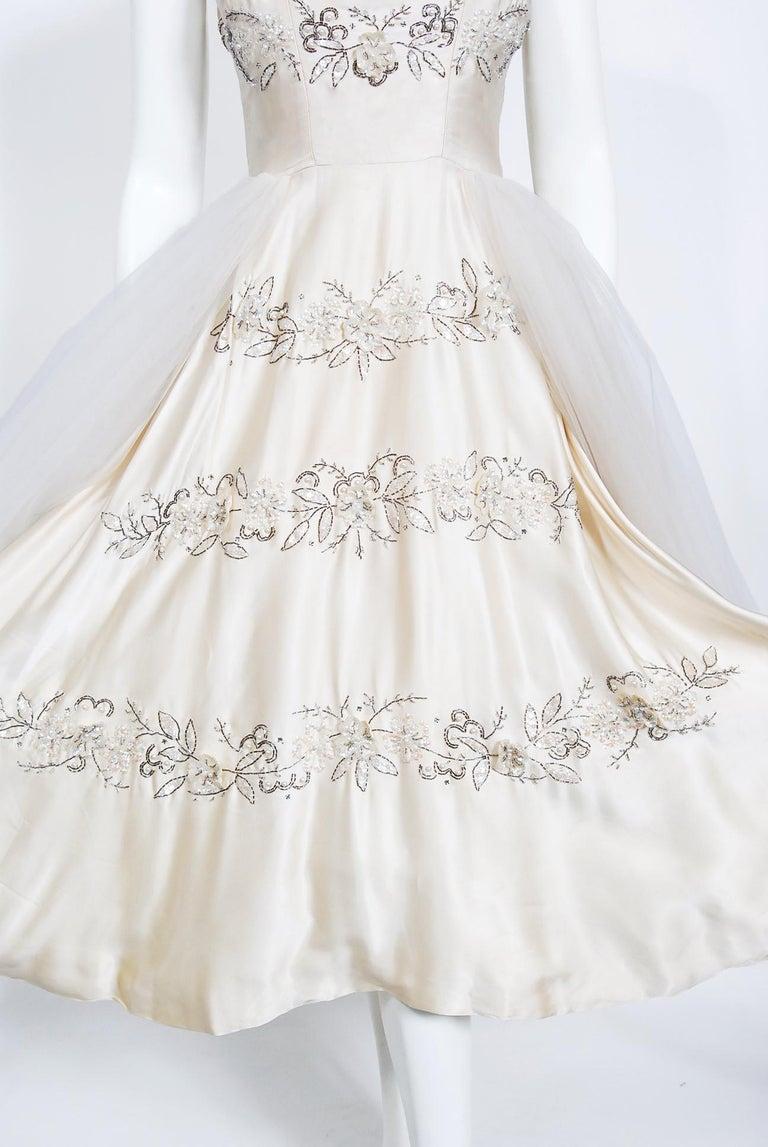 Women's Vintage 1950's Frank Starr Beaded Sequin Ivory Satin Tulle-Skirted Bridal Dress For Sale