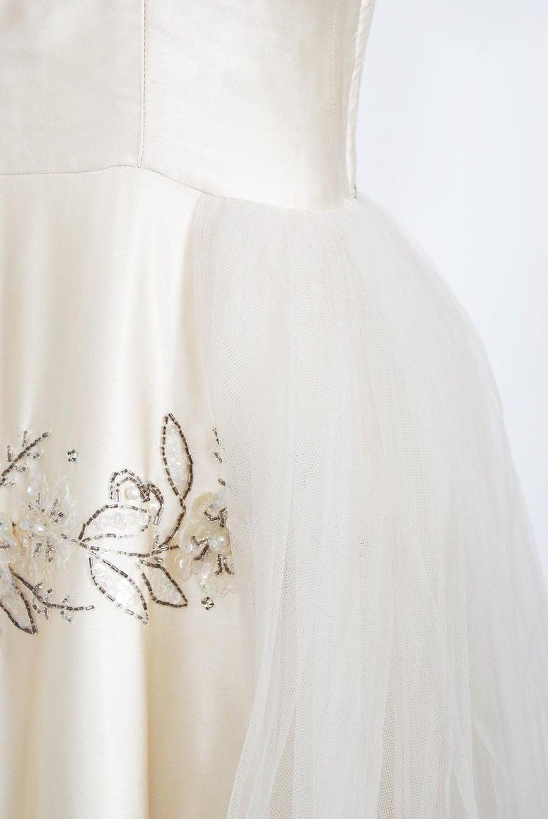Vintage 1950's Frank Starr Beaded Sequin Ivory Satin Tulle-Skirted Bridal Dress For Sale 1