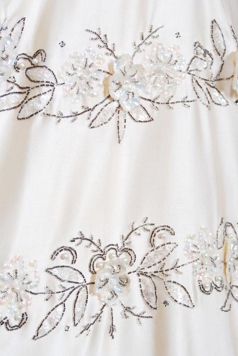 Vintage 1950's Frank Starr Beaded Sequin Ivory Satin Tulle-Skirted Bridal Dress For Sale 2