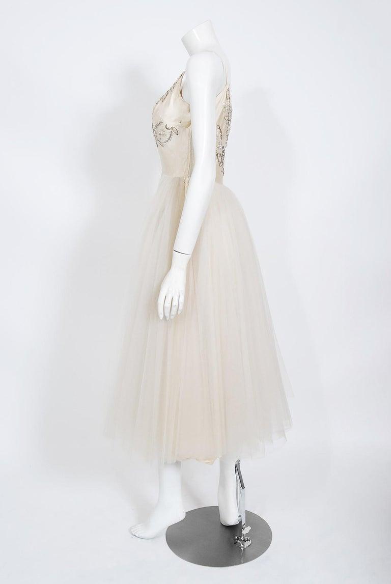 Vintage 1950's Frank Starr Beaded Sequin Ivory Satin Tulle-Skirted Bridal Dress For Sale 3