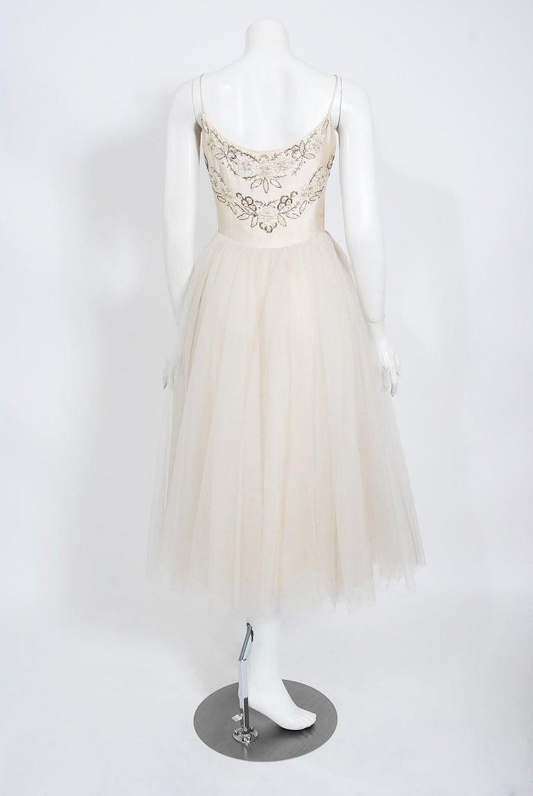 Vintage 1950's Frank Starr Beaded Sequin Ivory Satin Tulle-Skirted Bridal Dress For Sale 4