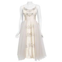 Vintage 1950's Frank Starr Beaded Sequin Ivory Satin Tulle-Skirted Bridal Dress