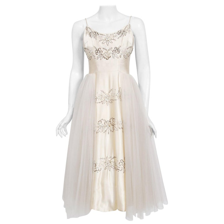 Vintage 1950's Frank Starr Beaded Sequin Ivory Satin Tulle-Skirted Bridal Dress For Sale