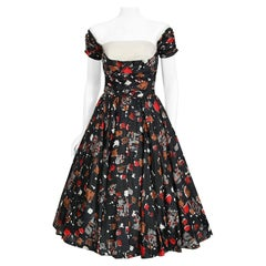 Vintage 1950's Fred Perlberg Atomic Print Silk Shelf-Bust Circle Skirt Dress