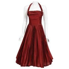 Vintage 1950's Fred Perlberg Merlot Red Silk Halter Pleated Circle-Skirt Dress
