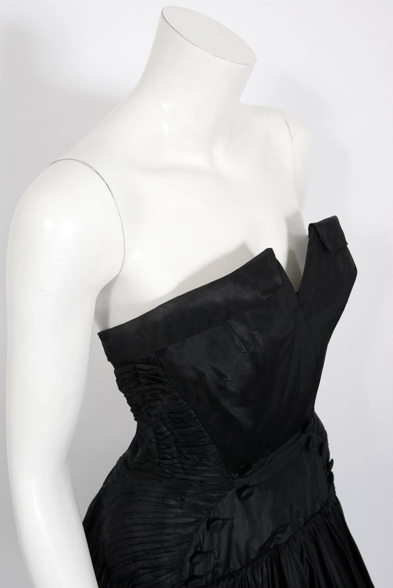 Women's Vintage 1950's French Couture Black Heavily-Pleated Silk Strapless Party Dress For Sale