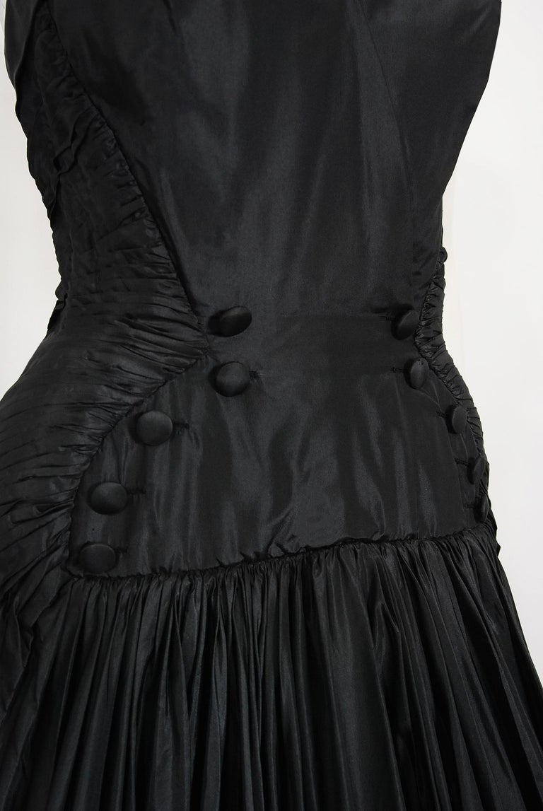 Vintage 1950's French Couture Black Heavily-Pleated Silk Strapless Party Dress For Sale 1