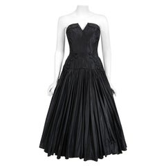 Vintage 1950's French Couture Black Heavily-Pleated Silk Strapless Party Dress