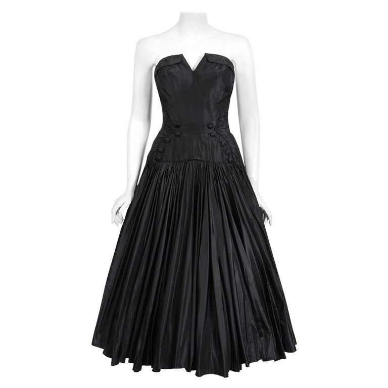 Vintage 1950's French Couture Black Heavily-Pleated Silk Strapless Party Dress For Sale