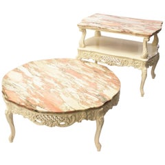Vintage 1950s French Provincial Pink Marble-Top Living Room Coffee End Tables