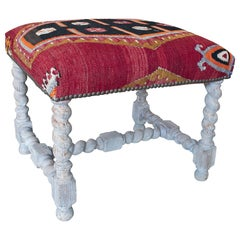 Vintage 1950s French Tapestry-Woven Kilim Upholstered Stool w/ Spindle Legs