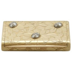 1950s French Yellow Gold and Diamond Box