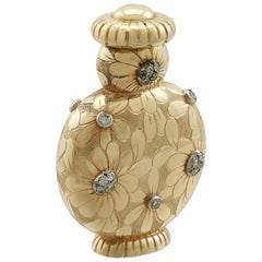 Vintage 1950s French Yellow Gold and Diamond Scent Bottle by Van Cleef & Arpels