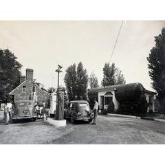 Vintage 1950s Gas Station Photograph