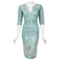 Vintage 1950's Gene Shelly Sequin Beaded Floral Turquoise Knit Hourglass Dress