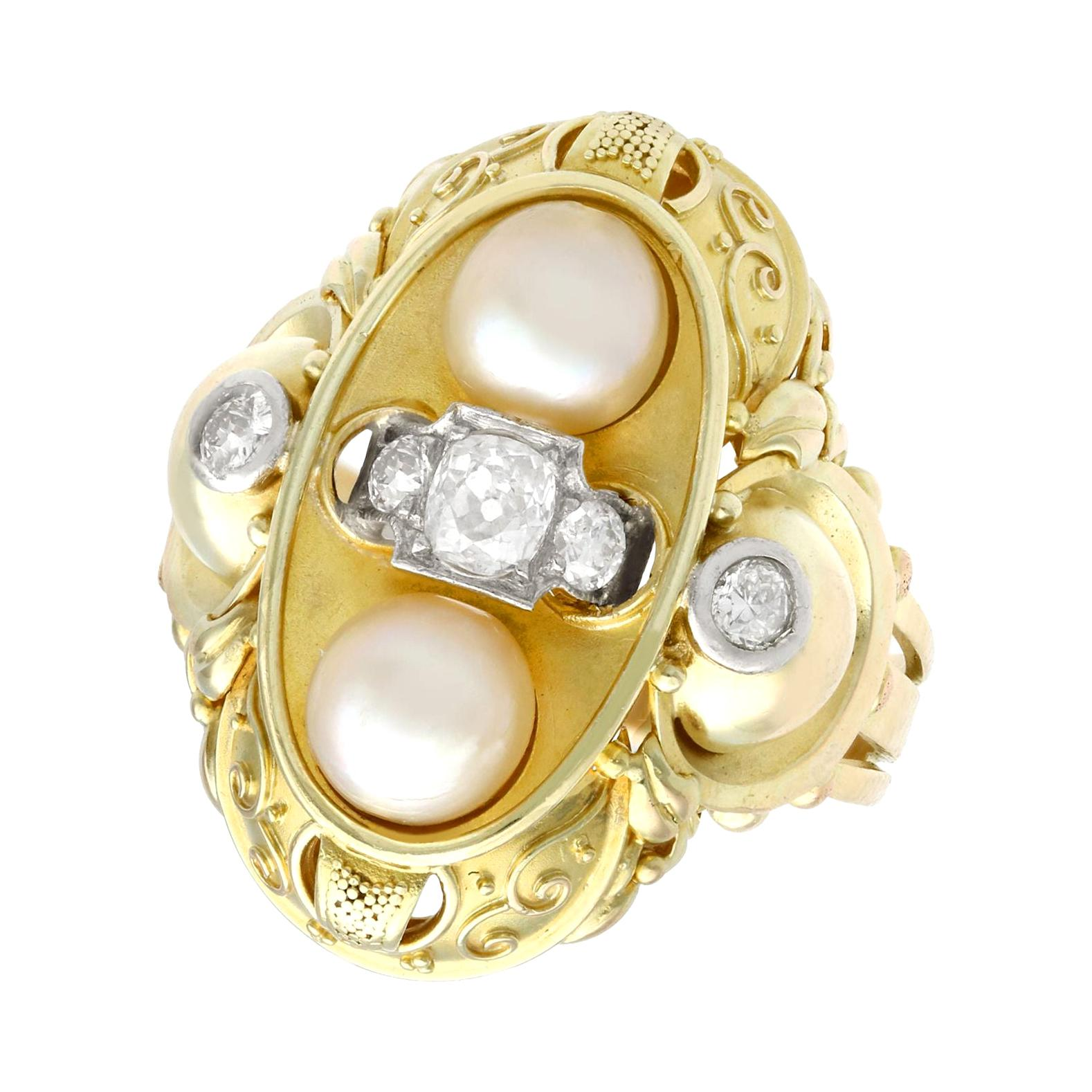 Vintage 1950s German Pearl Diamond Yellow Gold Cocktail Ring