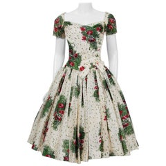 Vintage 1950's Gigi Young Floral Garden Print Silk Sweetheart Circle-Skirt Dress