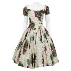 Vintage 1950's Gigi Young Floral Garden Print Silk Sweetheart Circle-Skirt Dress