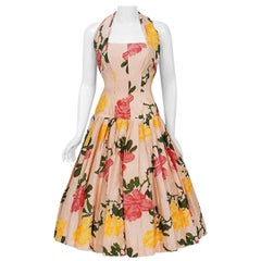 Vintage 1950's Gigi Young Pink Yellow Roses Floral Print Silk Halter Full Dress