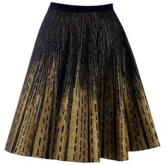 Vintage 1950s Gold Foil & Felt Wool Circle Skirt