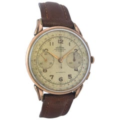 Vintage 1950s Gold Plate Chronograph Mechanical Gents Watch by Delbana Watch