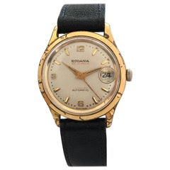 Vintage 1950s Gold-Plated and Stainless Steel 25 Jewels Swiss Automatic Watch
