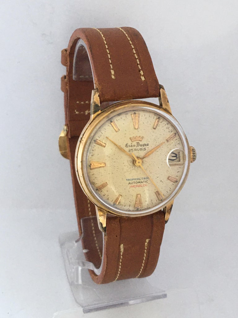 Vintage 1950s Gold Plated and Stainless Steel Back Automatic Watch For Sale 7
