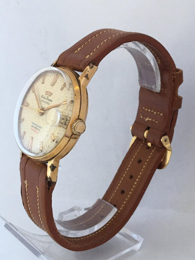 Vintage 1950s Gold Plated and Stainless Steel Back Automatic Watch For Sale 8