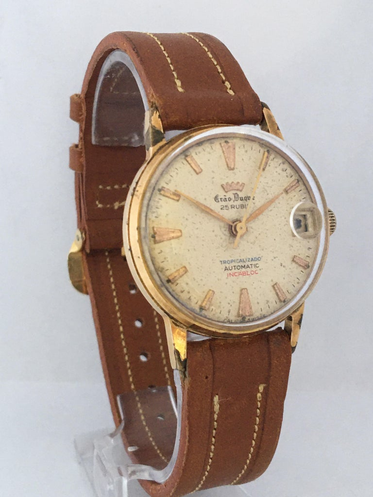 Vintage 1950s Gold Plated and Stainless Steel Back Automatic Watch For Sale 9
