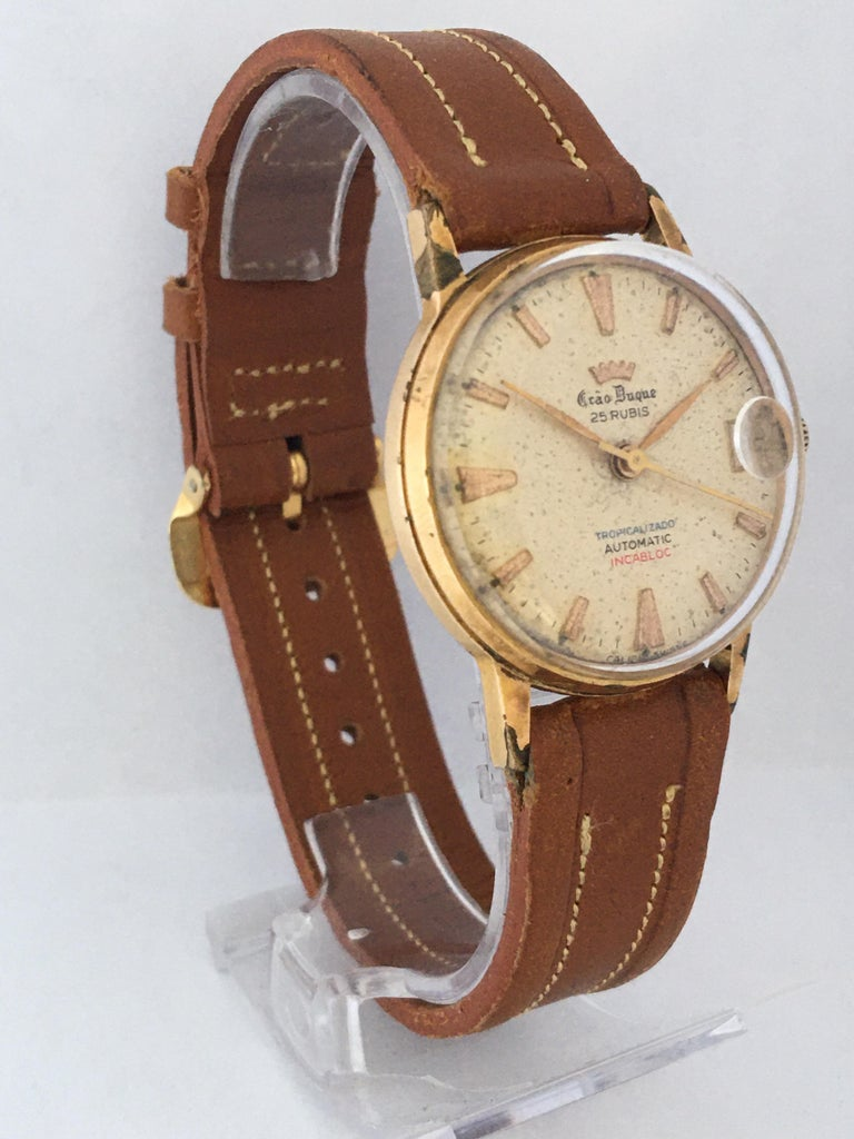 Vintage 1950s Gold Plated and Stainless Steel Back Automatic Watch In Good Condition For Sale In Carlisle, GB