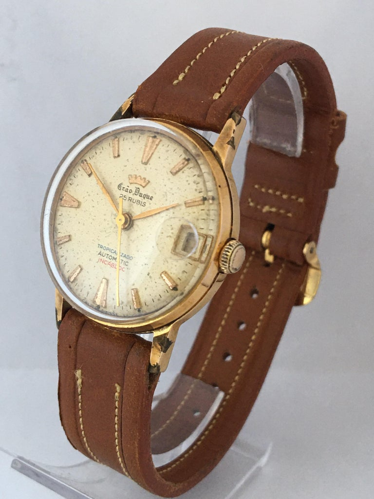 Women's or Men's Vintage 1950s Gold Plated and Stainless Steel Back Automatic Watch For Sale