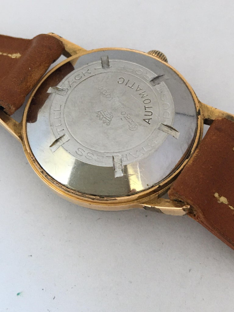Vintage 1950s Gold Plated and Stainless Steel Back Automatic Watch For Sale 4