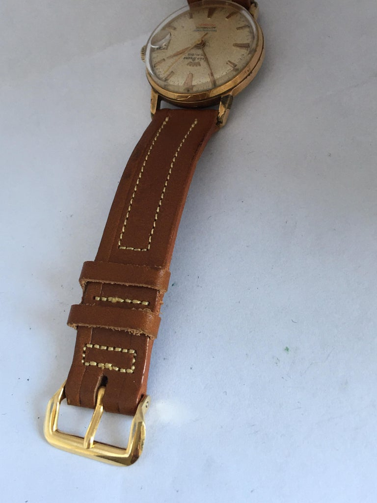 Vintage 1950s Gold Plated and Stainless Steel Back Automatic Watch For Sale 5