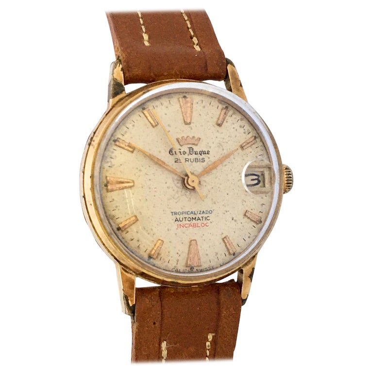 Vintage 1950s Gold Plated and Stainless Steel Back Automatic Watch For Sale