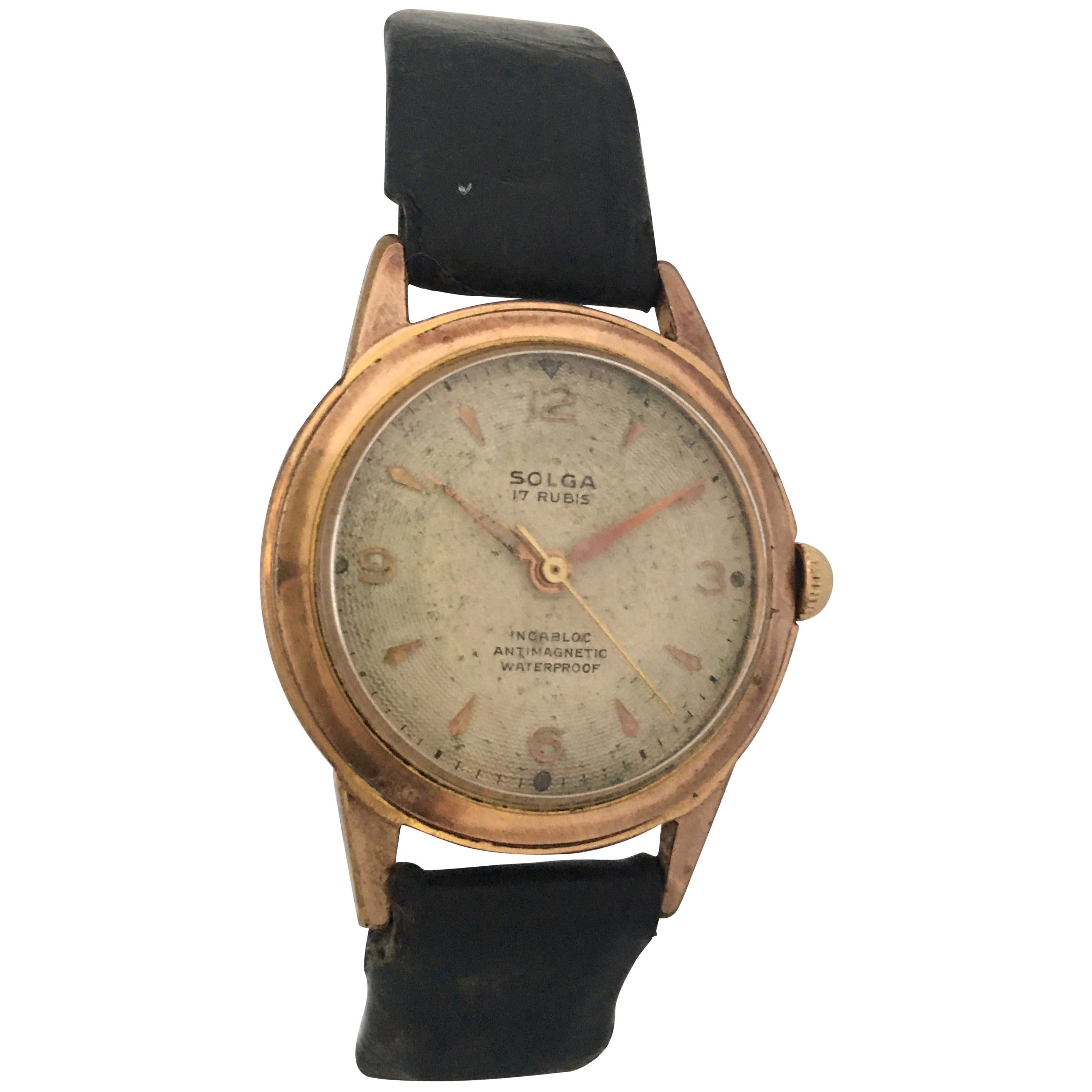 Vintage 1950s Gold-Plated and Stainless Steel Back Mechanical Watch