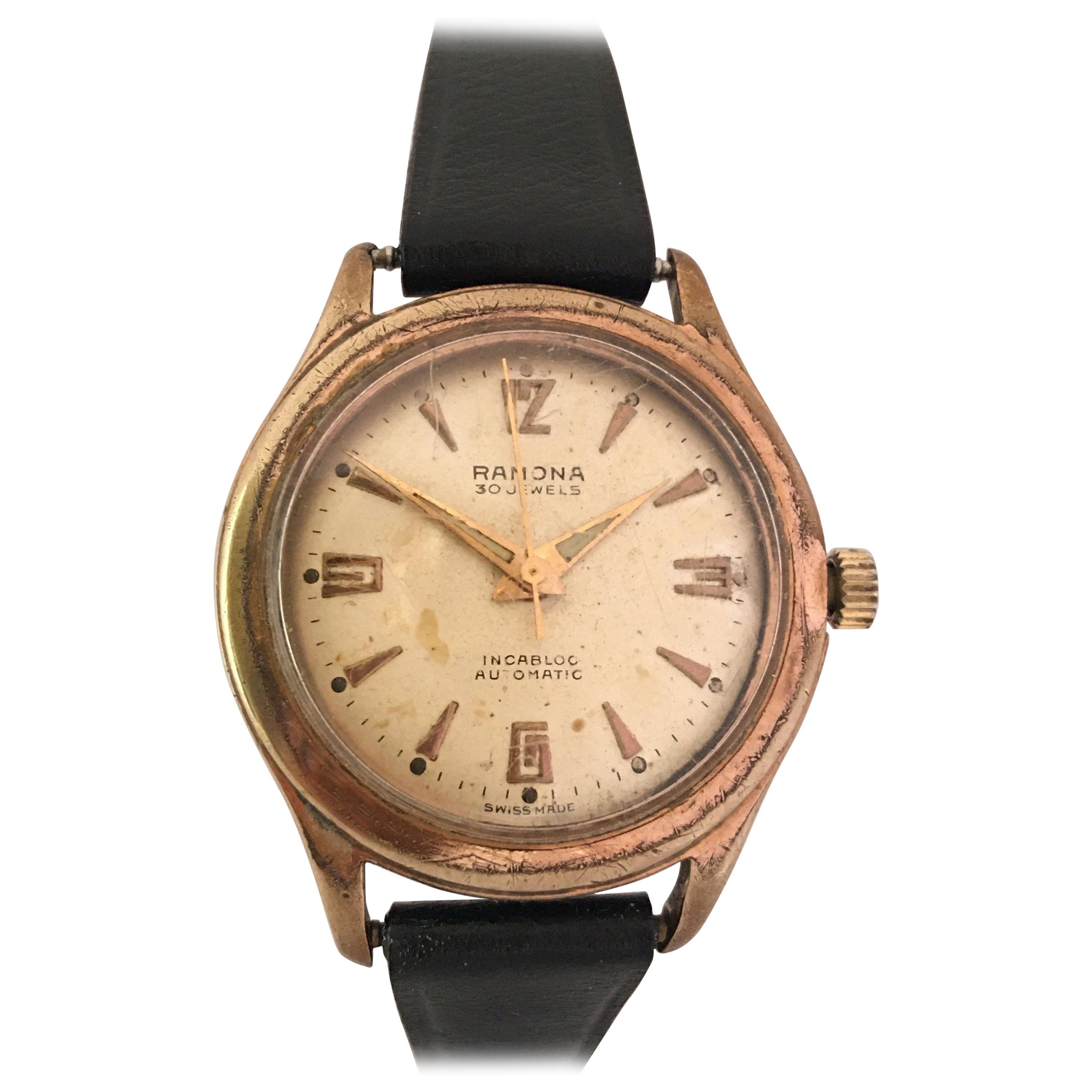 Vintage 1950s Gold-Plated and Stainless Steel Back Swiss Automatic Watch