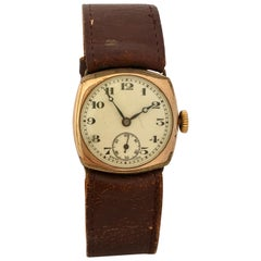 Vintage 1950s Gold-Plated Cushion Shaped Mechanical Watch
