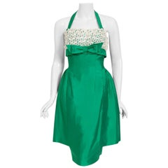 Vintage 1950's Green Cotton & White Lace Shelf-Bust Halter Skirted Wiggle Dress