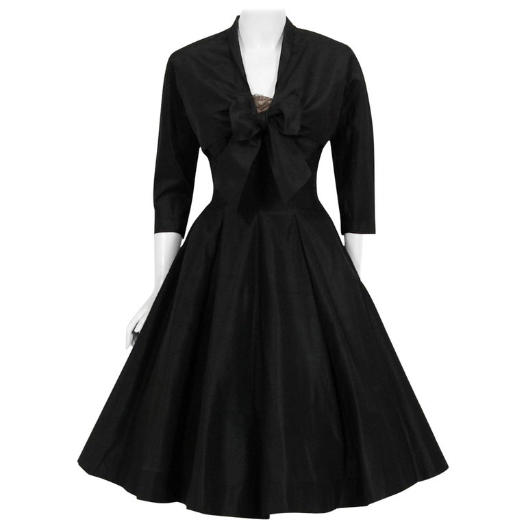 Vintage 1950's Harvey Berin Black Silk Lace Illusion Strapless Dress & Bolero For Sale