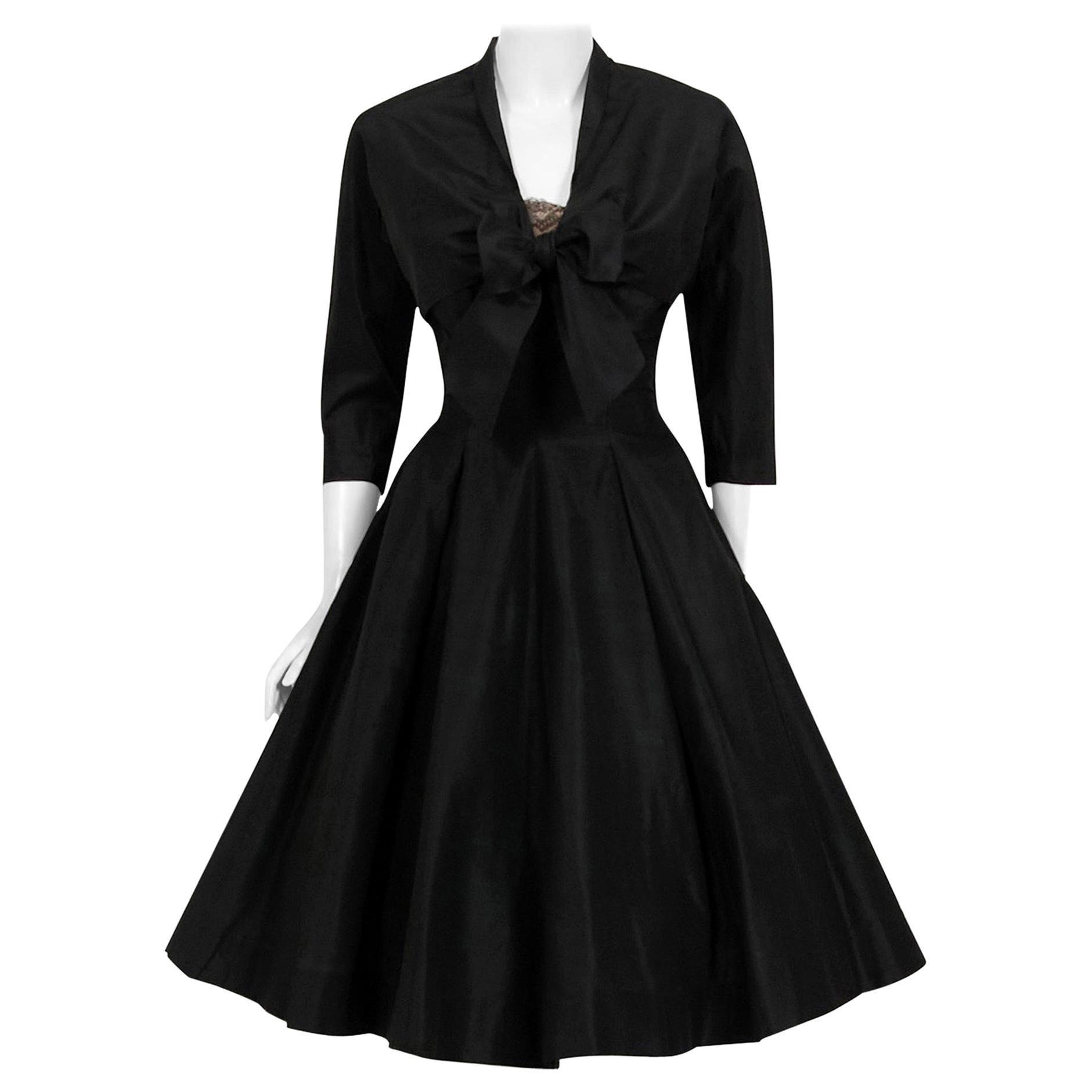Vintage 1950's Harvey Berin Black Silk Lace Illusion Strapless Dress & Bolero