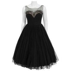 Vintage 1950's Harvey Berin Documented Black Chiffon & Lace Illusion Full Dress