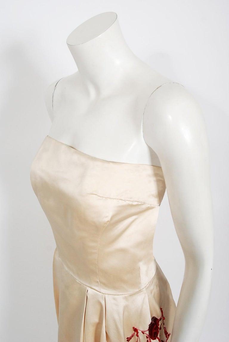 Beige Vintage 1950's Harvey Berin Embroidered Floral Ivory Silk Strapless Bridal Dress For Sale