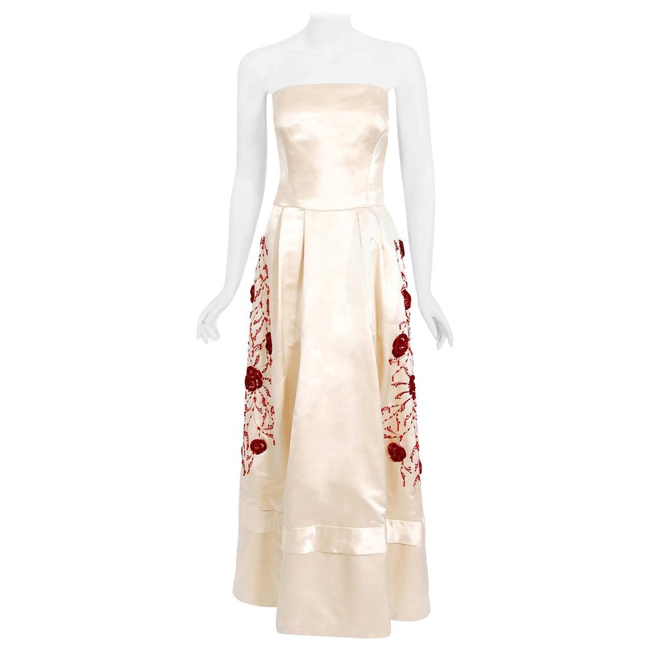 Vintage 1950's Harvey Berin Embroidered Floral Ivory Silk Strapless Bridal Dress