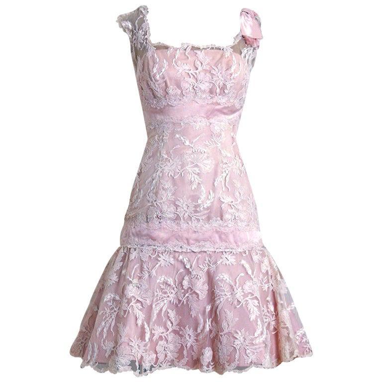 Vintage 1950's Harvey Berin Pink Chantilly Lace & Silk Shelf-Bust Flounce Dress