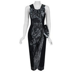 Vintage 1950's Iridescent Gunmetal Silk-Taffeta Beaded Rhinestone Peplum Dress