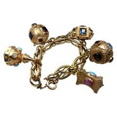 Vintage 1950s Italian 18k Yellow Gold Etruscan Revival Charm Bracelet 130 Grams