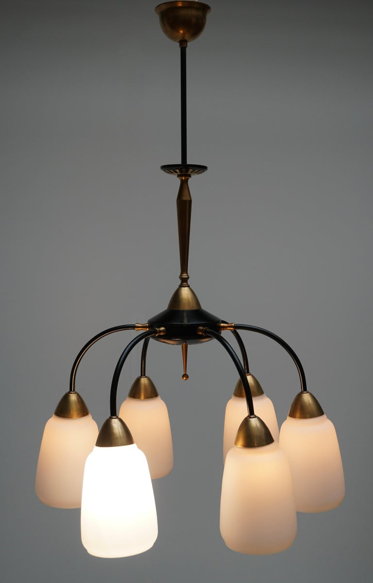 Vintage 1950s Italian Brass and Glass Chandelier For Sale 5
